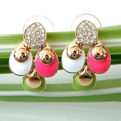 FidgetKute Colorful Enamel Leaves Vaulted 18K GP Crystal Earring Ear Stud Earrings -
