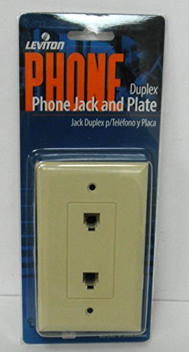 Leviton C2447-I Decora Flush Mount Duplex Phone Jack Wall plate, Color Ivory (Mount Flush Jack Wall)