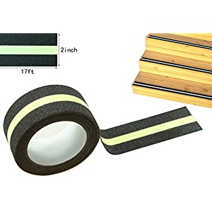 "Anti Slip Traction Tape, None Skid Glow In The Dark Safety Walk Tape with 3M Best Grip Abrasive Adhesive For Stairs, Tread Step, Resistant, 2"" Wide 17' Long Roll"