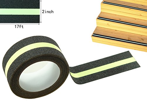 Anti Slip Traction Tape, None Skid Glow In The Dark Safety Walk Tape with 3M Best Grip Abrasive Adhesive For Stairs, Tread Step, Resistant, 2