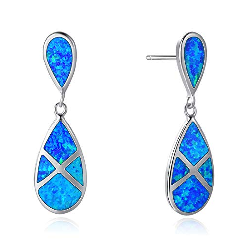 (Fancime Aqua Colored Blue Synthetic Opal Dangle Earrings 925 Sterling Silver Dainty Elegant Drop Pendant Jewelry for Mother, Girlfriend)