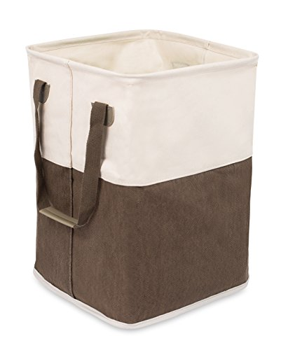 BirdRock Home Square Cloth Laundry Hamper with Handles | Dirty Clothes Sorter | Easy Storage | Foldable | Brown and White Canvas