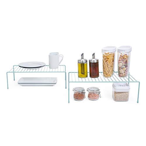 Smart Design Kitchen Storage Expandable Shelf Rack w/Plastic Feet – Steel Metal – Rust Resistant Finish – Cups, Dishes, Cabinet & Pantry Organization – Kitchen (10 x 32 Inch) [Light Blue]