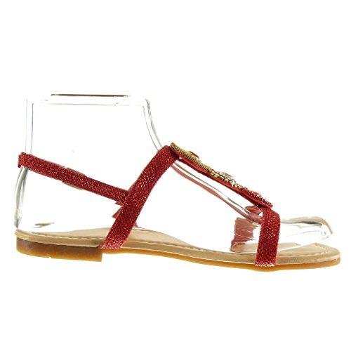 Angkorly - Scarpe da Moda sandali cinturino donna strass gioielli Tacco a blocco 1.5 CM - Rosso