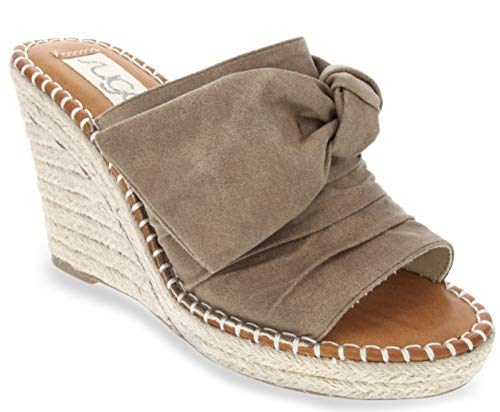 - Sugar Women's Hundreds Espadrille Wedge Sandals with Knotty Bow Detail 8 Taupe Distressed