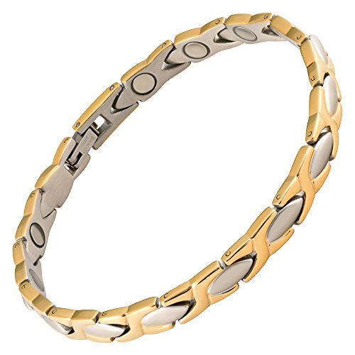 Magnetic Bracelet High Power Therapy Magnets Solid Stainless Steel 2 Tone XOXO