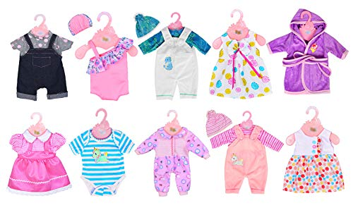 ebuddy 10 Sets Doll Clothes Outfits for 43cm New Born Baby Dolls, 15inch Baby Dolls, 18 Inch American Girl