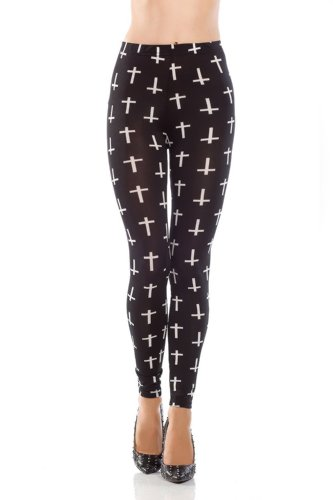 Amour - Women Rock X-ray Skeleton Bone Skull Leggings Tights Black