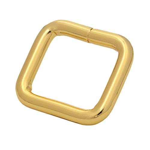 BIKICOCO Metal Rectangle Ring Buckles Square Strap Webbing Belt Rings for Bag Purse Non Welded 0.6 x 0.5 Inch, Gold, Pack of 30
