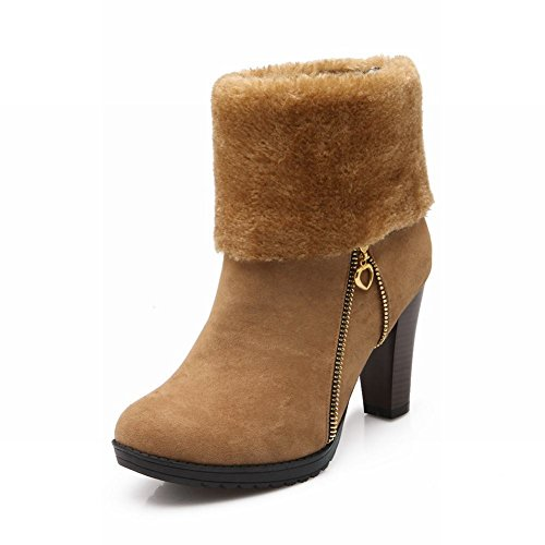 Carolbar Womens Zipper Decorations Faux Fur Warm Fashion High Heel Snow Dress Boots Yellow Brown