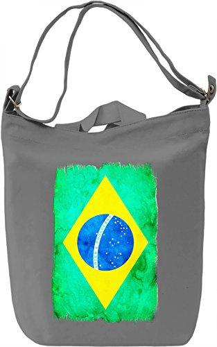 Brazil Flag Borsa Giornaliera Canvas Canvas Day Bag| 100% Premium Cotton Canvas| DTG Printing|