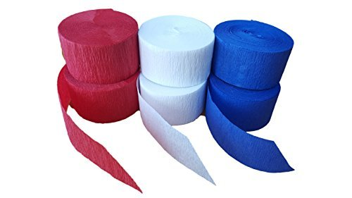 Patriotic Red White And Blue Crepe Paper Streamers 6 Rolls 435 Feet Total, Made in USA -