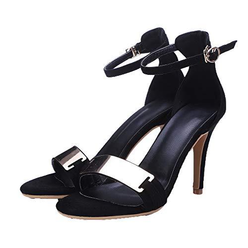 Puntera de AalarDom Negro Tacón Vestir Sandalias con Hebilla Abierta Mujeres Alto qCOC5Hx4
