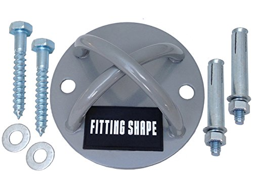 Wall / Ceiling Mount Bracket for Gym Suspension Training Straps, CrossFit & Strength Trainer Workouts, Yoga Swing, Battle Rope Equipment, Includes 2 Sets of Screws (for Wood & Concrete) up to 750 lbs