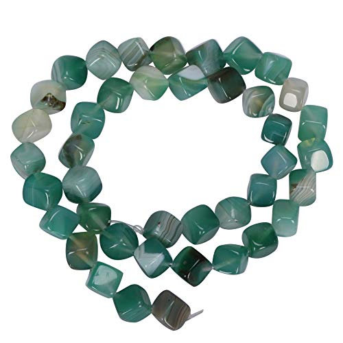 Top Quality Natural Green Stripe Agate Gemstone 8mm Cube Loose Stone Beads 15.5