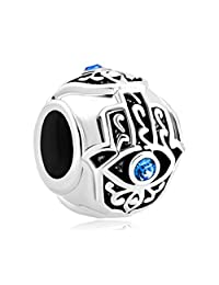 Sterling Silve New Evil Eye Blue Birthstone Crystal Charm Beads Fit Pandora Jewelry Charms Bracelet Gifts