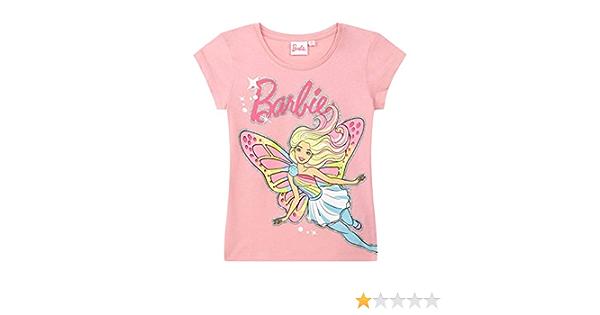 Barbie Camiseta Manga Corta para Chicas Rosa 104: Amazon.es: Ropa