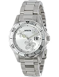 Invicta Womens 12506 Pro Diver Silver Dial Crystal Accented Stainless Steel Watch