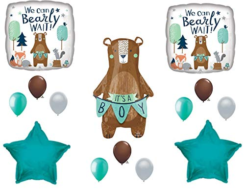 - NEW! We Can Bearly Wait Baby It's A Boy Shower Balloons Bear Woodland