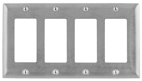 Bryant Electric SS264 Metallic Wallplate, 4-Gang, 4 Decorator/GFCI Openings, Standard Size, 302/304, StainlessSteel, With Removable White Protective Film