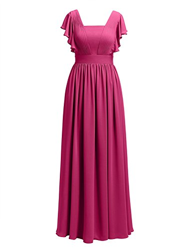 Prom Formal Cdress Bride Evening Gowns Mother The Fuchsia Long Dresses Of Chiffon Wedding CwqCn6Hgx