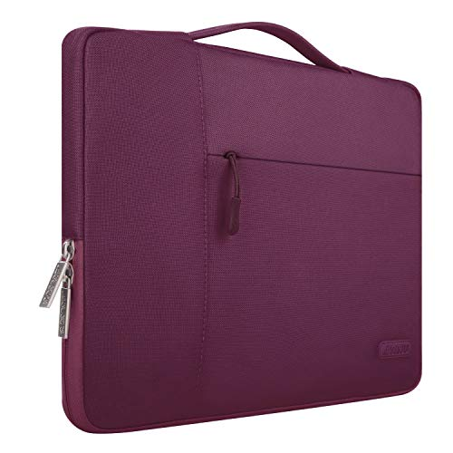 MOSISO Laptop Briefcase Handbag Compatible 13-13.3 Inch MacBook Air, MacBook Pro, Notebook Computer, Polyester Multifunctional Carrying Sleeve Case Cover Bag, Wine Red (Macbook Pro Vs Microsoft Surface Pro 2)