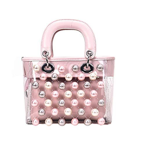 Women Handbag Top Handle Small Satchel Pearl Stud Cocktail Hand Bag in Leather Small Doctor PVC ()