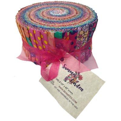 Benartex SUMMER GARDEN Pinwheel 2.5-inch Fabric Quilting Strips Jelly Roll