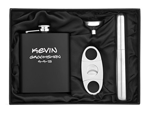 lack Stainless Steel Hip Flask, Funnel, Cigar Holder & Cutter Custom Personalized (Matte Stainless Steel Flask)