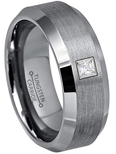 0.10ctw Solitaire Princess Cut Diamond Tungsten Ring - 8MM Brushed Beveled Edge Tungsten Carbide Wedding Band - April Birthstone Ring - s12.5 (Best Wedding Band For Princess Cut Solitaire)