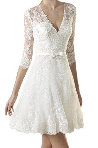 MILANO BRIDE 2017 Short Wedding Dress V-Neck 1/2 Sleeves Lace Reception Dresses-6-Light Ivory