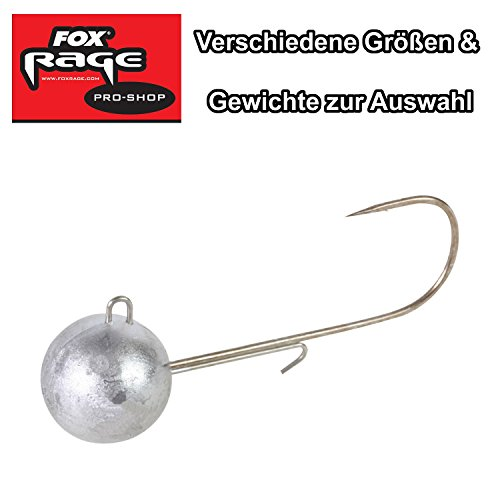 Fox Rage Jigköpfe Round Jigs Jighaken, Jigkopf für Gummifische, verschiedene Größen & Gewichte zur Auswahl, Kunstköder Gr. 1, 1/0, 2/0, 3/0, 4/0, 5/0, 6/0, Größe:7g / Gr. 5/0