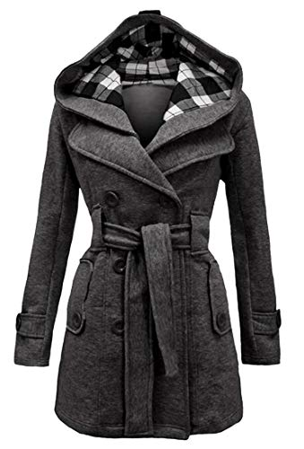 MMCP Womens Winter Warm Double Breasted Hoodie Trench Pea Coat Jacket Overcoat Dark Grey M