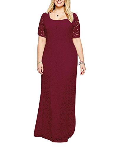 Encaje Grande Largos Manga Talla Bodas Corta Para Vestido Cóctel Mujer Vestido De Vintage Vino Fiesta Rojo gwTtXtq