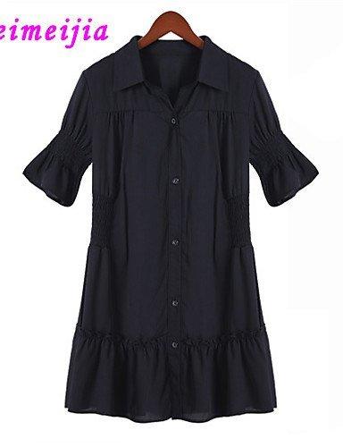 GSP-Damen Kleid - Übergrößen Sexy Übers Knie Mikrofaser Hemdkragen