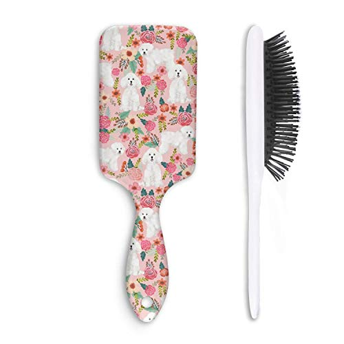 Unisex Detangle Hair Brush Cute Bichon dog floral1 Boar Bristle Paddle Hairbrush for Wet, Dry, Thick, Thin,Curly ()
