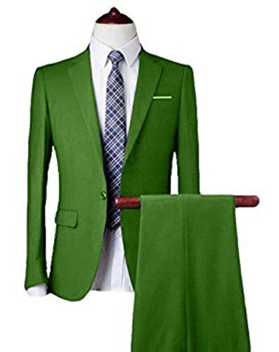 Men's 10-Colors Slim Fit Two-Piece Single Breasted 1-Button Suit Jacket Pants Set ()
