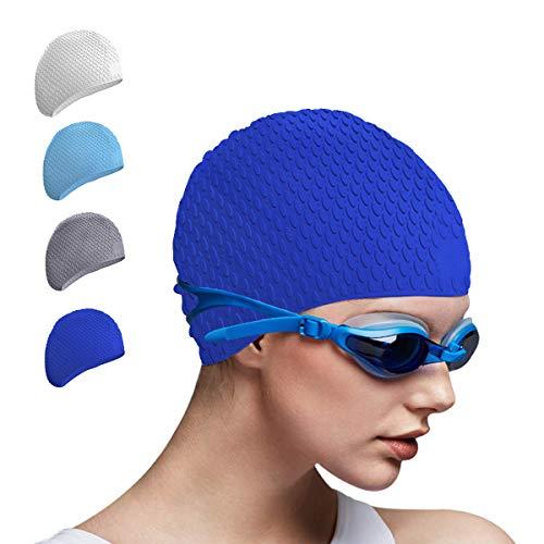Tripsky Silicone Swim Cap,Waterproof Bathing Cap Ideal for Short Medium Long Hair, Comfortable UV Swimming Cap for Women and Men, Shower Caps Keep Your Hair Dry Cap (Blue)