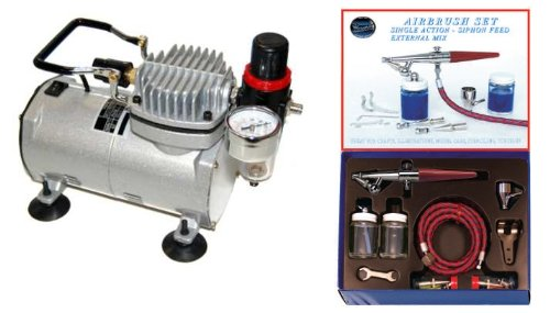 PAASCHE H AIRBRUSH SET w/Quiet AIR BRUSH COMPRESSOR