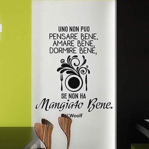 - Art Saying Lettering Decoration Art Italian Quote Uno Non Puo Pensare Bene Amare Bene Dormire Bene Se Non Ha Mangiato Bene Kitchen Dining Room Wall Decals Decor Vinyl Sticker SK17120