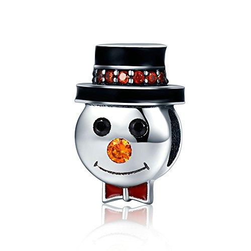 Everbling Merry Christmas Santa Claus Sleigh Tree Bell Wreath 925 Sterling Silver Bead Fits European Charm Bracelet (Snowman 2)