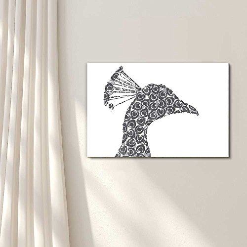 Proud I Peacock and Eyespots Silhouette Black and White Exclusive Artwork Quirky Fun Design