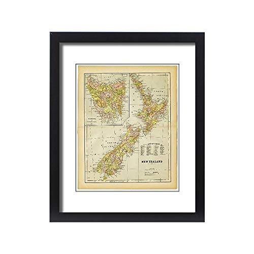 Media Storehouse Framed 20x16 Print of map of New Zealand 1883 (18443413) (Framed Map Of New Zealand)