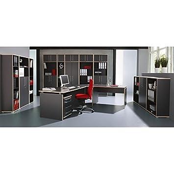 Komplett Büromöbel Set in anthrazit ○ Eckchreibtisch mit Wangen ...