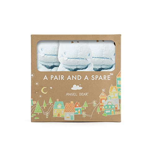 Angel Dear Pair and a Spare 3 Piece Blanket Set, Blue Hippo ()