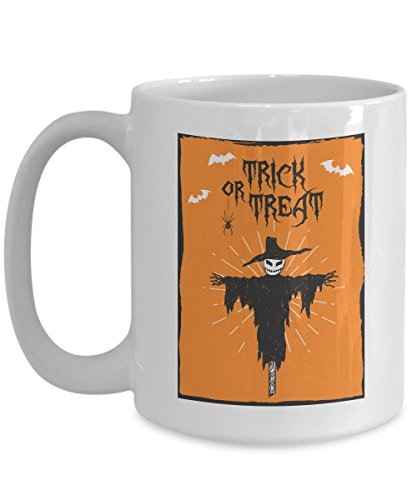 Trick or Treat - Scarecrow - Halloween Coffee Mug - 11oz, 15oz - White - Ceramic Cup