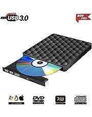 PiAEK Lecteur CD DVD Externe, Graveur DVD Externe USB 3.0 CD-ROM Optique DVD RW/ROM Enregistreur Portable pour PC Windows 7 8 10 Mac OS 10 7 8 XP Vista