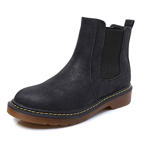 Women's Ankle Boots Vintage Elastic Chelsea Boots Anti Slip Waterproof Slip On Short Rain Booties Black
