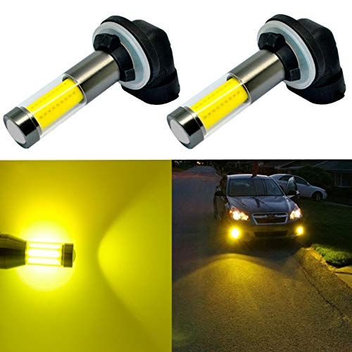 Alla Lighting Xtreme Super Bright LED 889 881 Fog Light Bulbs - High Power COB Universal 898 881 LED Bulb 881 LED Fog Lights Bulbs Lamp Replacement - 3000K Amber Yellow
