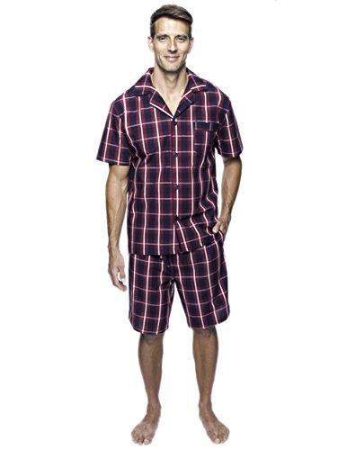 Noble Mount Twin Boat Men's Cotton Short Pajama Set - Patriotic Plaid - Large